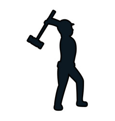 Color pictogram laborer with mallet equipment vector