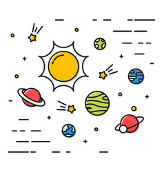 Colorful linear space with planets linear simple vector