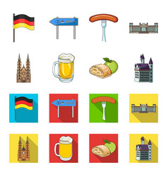 country germany cartoonflat icons in set vector image