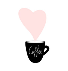 cups coffee mug heart love hand drawn style vector image