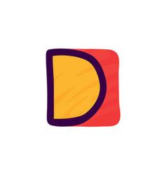 d letter logo in kids paper applique style vector image