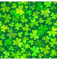 Dark green seamless clover pattern with lights vector