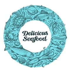 delicious seafood hand drawn sketches on the vector image