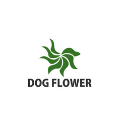 dog abstract and flower design inspiration logo vector image
