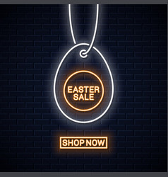 Easter sale neon sign happy easter egg line vector