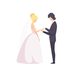 Elegant groom putting the ring on brides finger at vector