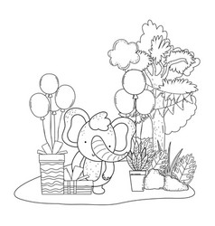 elephant with gifts and balloons helium in the vector image