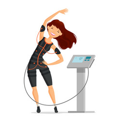 ems training girl doing fitness exercise in the vector image