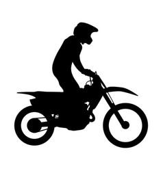 Enduro athlete on bike rides vector