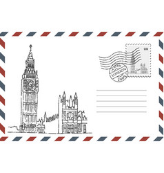 Envelope with hand drawn big ben vector