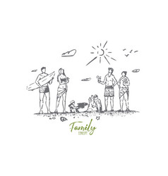 family beach summer sand people concept vector image