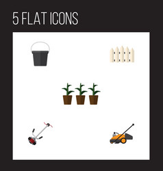 Flat icon farm set of pail wooden barrier lawn vector