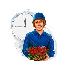 flower delivery boy courier flower seller on vector image