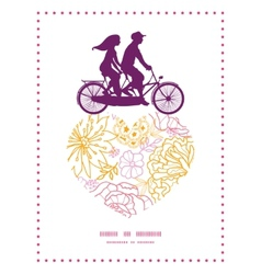 flowers outlined couple on tandem bicycle vector image