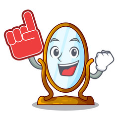 foam finger big dressing mirror isolated on mascot vector image