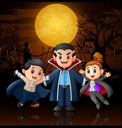 Funny cartoon vampire in ha vector