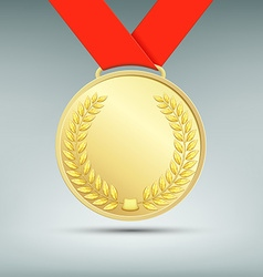 Gold medal with red ribbon vector image