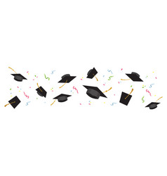 graduating black caps up in air on a white vector image