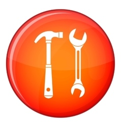 Hammer and wrench icon flat style vector