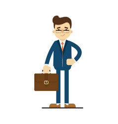 happy businessman hold leather briefcase vector image