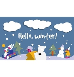 hello winter snow sign flat card vector image