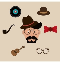 Hipster fashion man and retro icons image vector