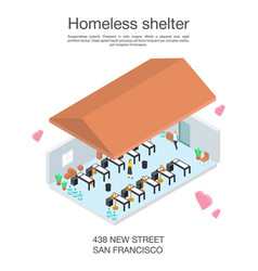 Homeless shelter volunteerconcept banner vector