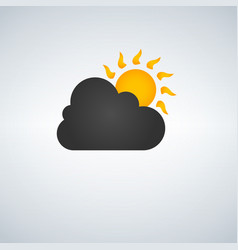 icon with sun and cloud vector image