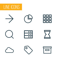 interface icons line style set with ahead vector image