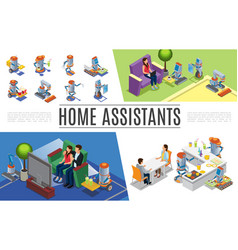 isometric robotic home assistants collection vector image