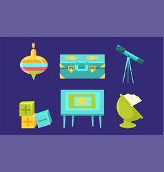 Kid toys and bacare supplies set child vector