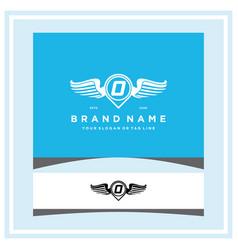 Letter o pin map wing logo design concept vector
