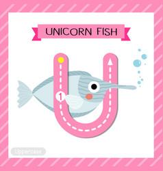 Letter u uppercase tracing unicorn fish vector