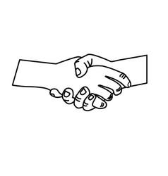 Line nice hands together like friendship symbol vector
