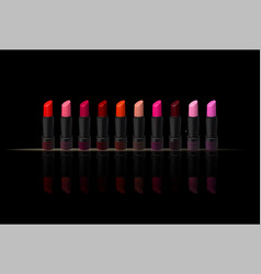 Lipstick set on black background beauty vector