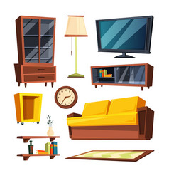 Living room furniture items vector