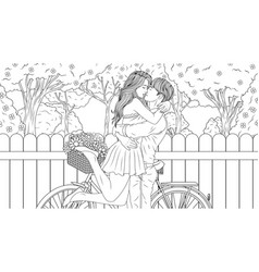lovers in spring garden vector image