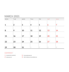 March 2021 monthly calendar planner printable vector