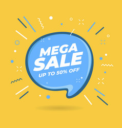 mega sale speech bubble shaped banners vector image