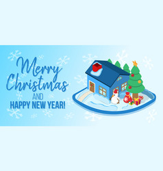 merry christmas concept banner cartoon style vector image
