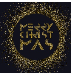 Merry Christmas gold lettering Christmas vector image
