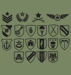 military symbols icons set - army emblems vector image