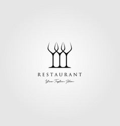 minimalist three glass logo restaurant design vector image