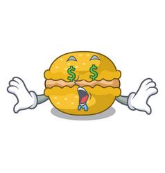 Money eye macarons banana in shape a cartoon vector