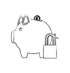 Monochrome sketch of piggy bank with padlock vector