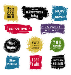 motivation badges grunge background ink brush vector image