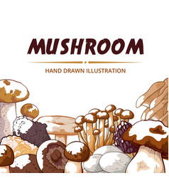 Mushroom icon frame hand drawn background vector
