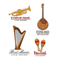 Music festival icons musical instruments vector