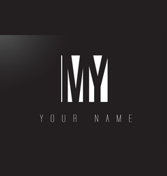 my letter logo with black and white negative vector image