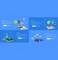 Natural sciences course promotional posters set vector
